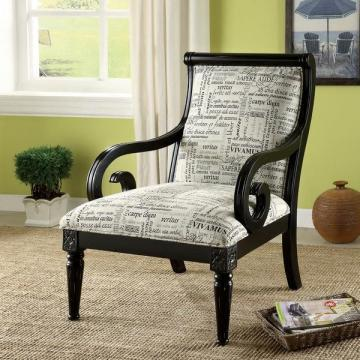 Furniture of America Scrolli Script Printed Fabric Scroll Arm Accent Chair