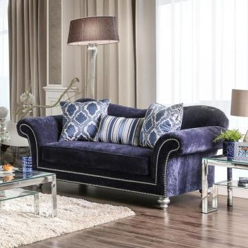 Furniture of America Alema Glam Navy Microfiber Loveseat
