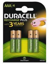 Duracell AAA 750mAh Rechargeable Ni-MH Batteries with DuraLock, 4 Pack