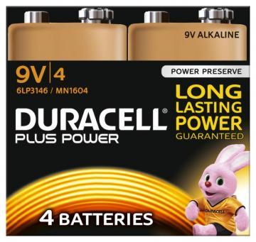 Duracell Plus Power 9V Alkaline Batteries with Duralock, 4 Pack