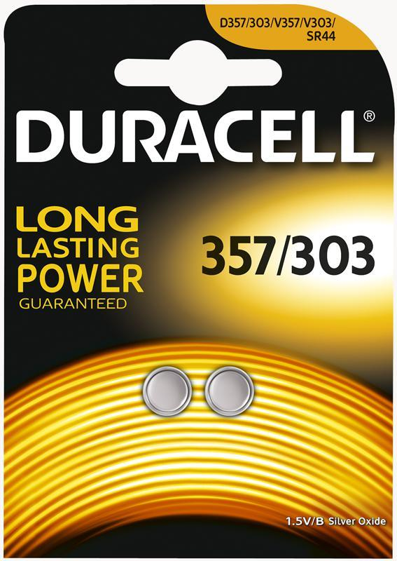 Duracell 357/303 1.55V Silver Oxide Battery, 2 Pack