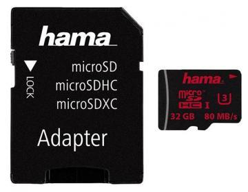 Hama 32GB Class 3 MicroSDHC UHS-1 Card with SD Adaptor - 80 MB/s
