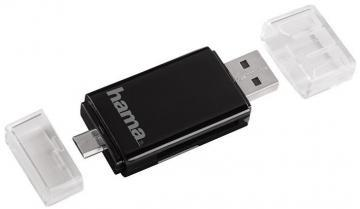 Hama USB 2.0 OTG SD/microSD Card Reader for Smartphone / Tablet, Black