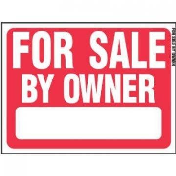 "Hy-Ko Sign, ""For Sale By Owner"", Red & White Plastic, 18x24"""