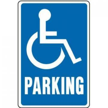 "Hy-Ko Sign, ""Handicapped Parking"", Blue & White Aluminum, 12x18"""