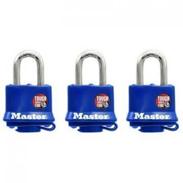 "Master Lock 3-Pack 1-1/2"" Laminated Padlock With Blue Weatherproof Cover"
