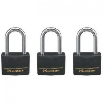 "Master Lock 3-Pack 1-9/16"" Solid-Brass Padlock With Black Cover & Covered Key He"