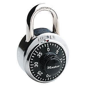 Master Lock Combination Padlock, Not Resettable Center-Dial Location, 3/4""