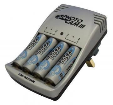 Ansmann PhotoCam III Battery Charger & 4x AA NiMH Batteries 2850