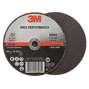 "3M 4"" Type 1 Ceramic Cut-Off Wheel, 3/8"" Arbor, 0.035""-Thick, 19,100 Max. RPM"