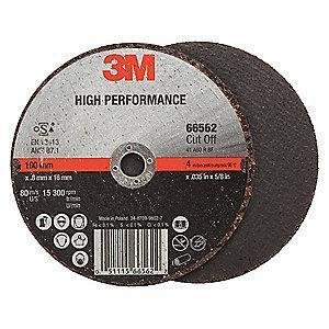 "3M 4"" Type 1 Ceramic Cut-Off Wheel, 5/8"" Arbor, 0.035""-Thick, 15,300 Max. RPM"