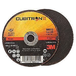 "3M 3"" Type 1 Ceramic Cut-Off Wheel, 1/4"" Arbor, 0.035""-Thick, 25,465 Max. RPM"