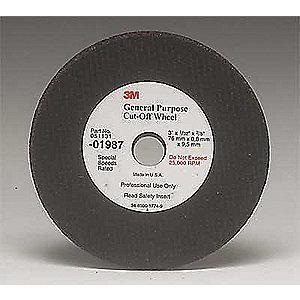"3M 3"" Type 1 Aluminum Oxide Cut-Off Wheel, 3/8"" Arbor, 1/32""-Thick, 25,000 RPM"