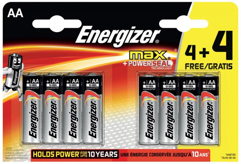 Energizer Retail Packed Max 4+4 Value Pack Alkaline AA Batteries