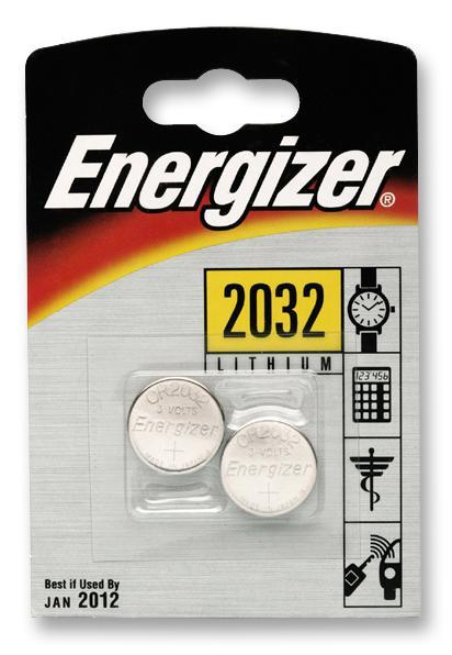 Energizer CR2032 Lithium Coin Cell Battery, 2 Pack