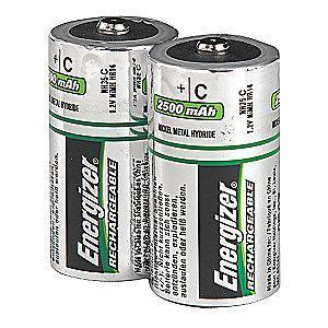 Energizer C Pre-Charged Rechargeable Battery, Recharge, NiMH, PK2