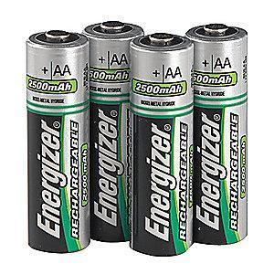 Energizer AA Pre-Charged Rechargeable Battery, Recharge, NiMH, PK4