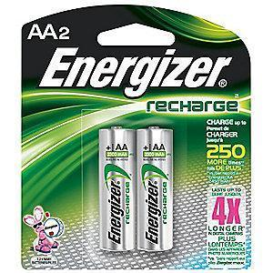 Energizer AA Pre-Charged Rechargeable Battery, Recharge, NiMH, PK2
