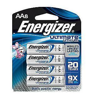 Energizer AA Standard Battery, Energizer Ultimate, Lithium, PK8
