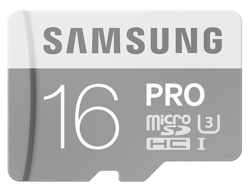 Samsung 16GB PRO MicroSDHC Card with SD Adaptor - Class 10 UHS-3 90 MB/s