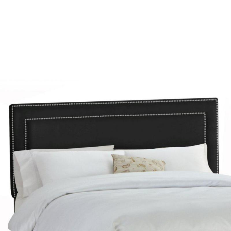 Skyline Furniture Upholstered Full Headboard in Premier Microsuede Black