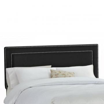 Skyline Furniture Upholstered Queen Headboard in Premier Microsuede Black