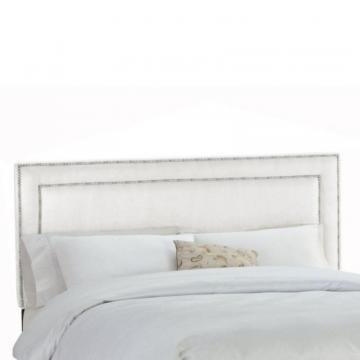 Skyline Furniture Upholstered Queen Headboard in Premier Microsuede White