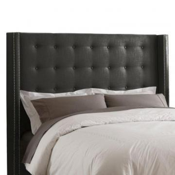 Skyline Furniture Queen Nail Button Tufted Headboard in Linen Charcoal