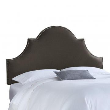 Skyline Furniture Upholstered California King Headboard in Linen Charcoal