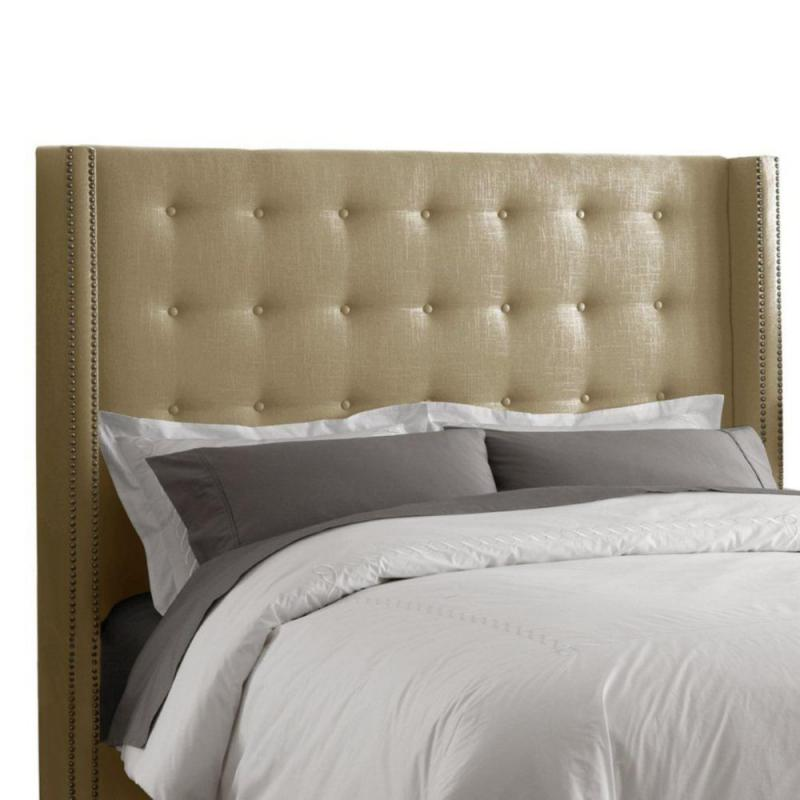 Skyline Furniture Full Nail Button Tufted Headboard in Linen Sandstone
