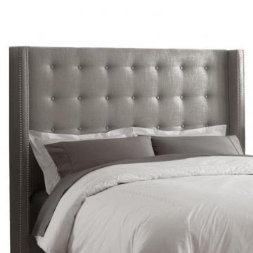 Skyline Furniture Full Nail Button Tufted Headboard in Linen Grey