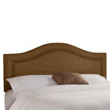 Skyline Furniture Queen Inset Nail Button Headboard in Groupie Praline with