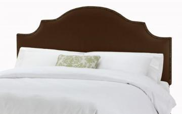 Skyline Furniture Queen Nail Button Notched Headboard in Linen Chocolate