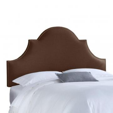 Skyline Furniture Upholstered California King Headboard in Linen Chocolate