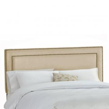 Skyline Furniture Upholstered Full Headboard in Premier Microsuede Oatmeal
