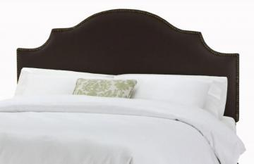 Skyline Furniture Full Nail Button Notched Headboard in Linen Black