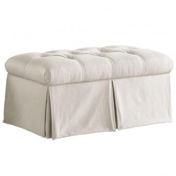 Skyline Furniture Skirted Storage Bench in Shantung Parchment