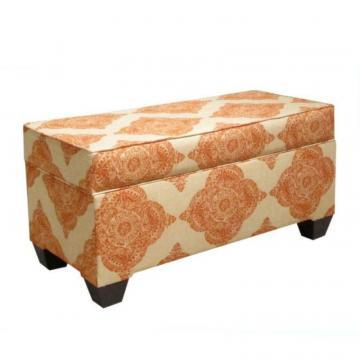 Skyline Furniture Upholstered Storage Bench in Mani Terracotta
