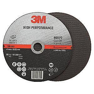 "3M 6"" Type 1 Ceramic Cut-Off Wheel, 7/8"" Arbor, 0.045""-Thick, 10,200 Max. RPM"