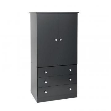 Prepac Black Edenvale 3 Drawer Wardrobe