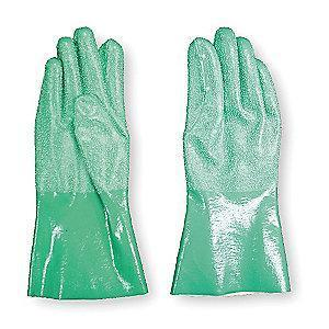 Condor Chemical Resistant Gloves, Standard Weight Thickness, Green, PR 1