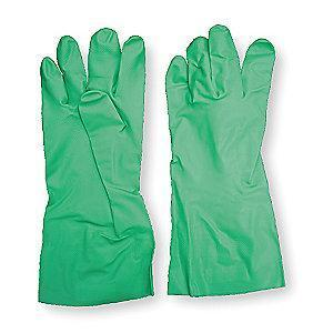 Condor Chemical Resistant Gloves, Unlined Lining, Green, PR 1