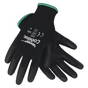 Condor 13 Gauge Smooth Polyurethane Coated Gloves, S, Black/Black