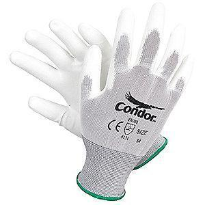 Condor 15 Gauge Smooth Polyurethane Coated Gloves, 2XL, White/White