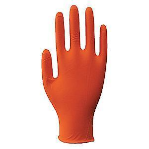 "Condor 9-1/2"" Unlined Nitrile Disposable Gloves, Orange,  S, 100PK"