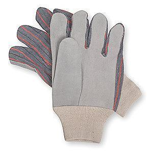 Condor Cowhide Leather Palm Gloves with Knit Wrist Cuff, Gray, L