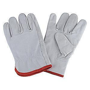 Condor Goatskin Leather Driver's Gloves with Shirred Cuff, Gray, L