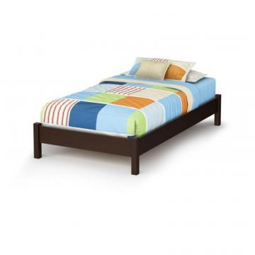 South Shore Lux Twin Platform bed with Legs Chocolate