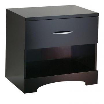 South Shore Lux 1-Drawer Nightstand Chocolate