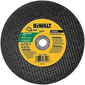 "DeWalt 12"" Type 1 Aluminum Oxide Cut-Off Wheel, 1"" Arbor, 7/64"", 5000 RPM"